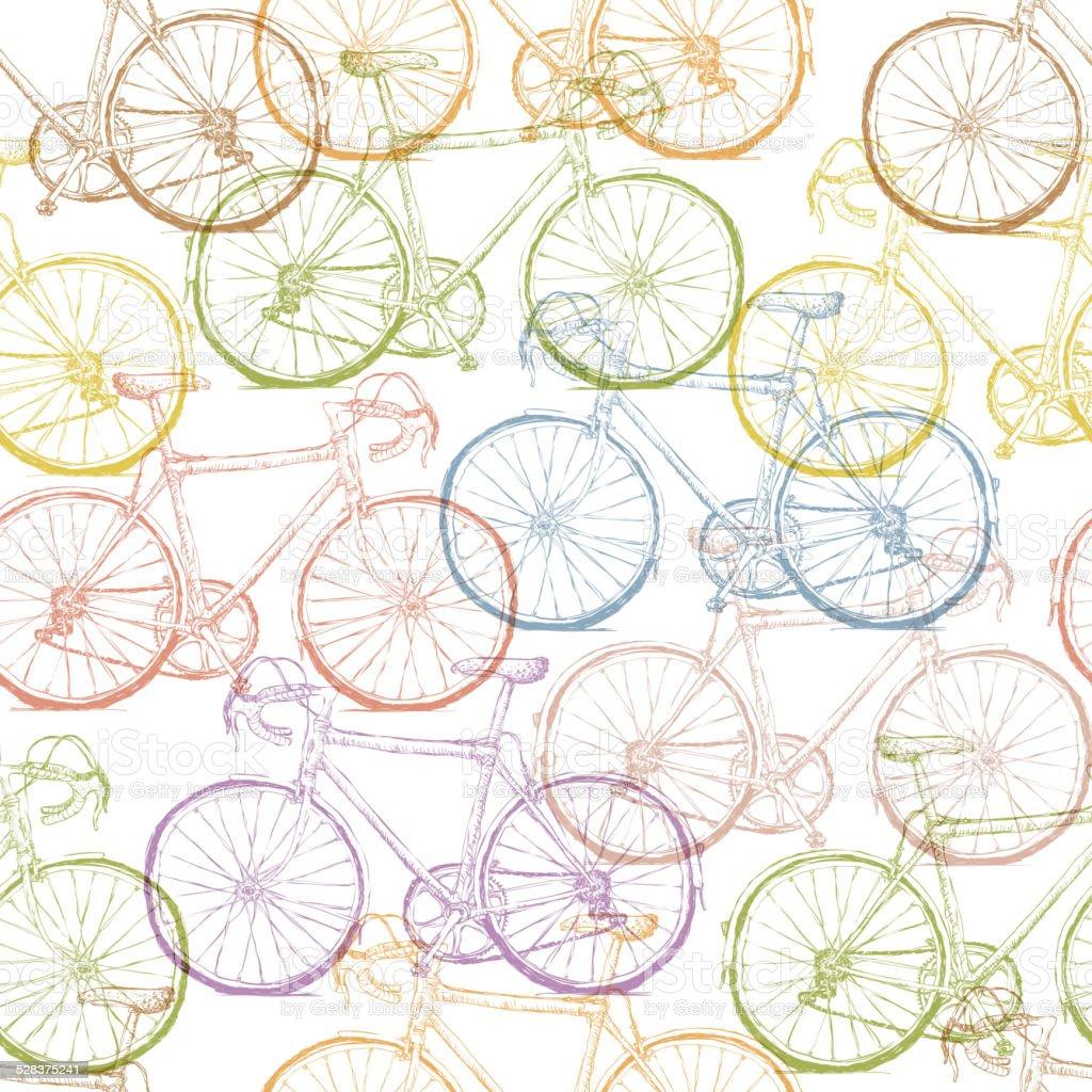 Ilustración de Bicicleta Vintage Dibujados A Mano Patrón Sin ...
