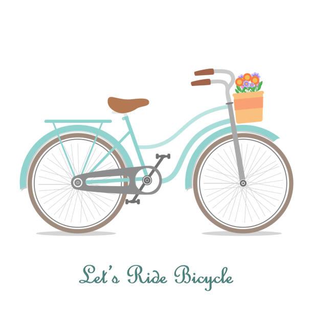Vintage bicycle with basket vector art illustration