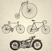 Vintage bicycles set. Isolated objects on grunge background.