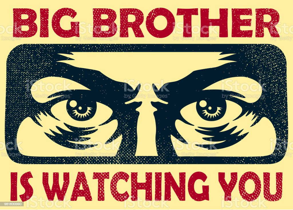 Vintage big brother watching you spying eyes surveillance and privacy concept vector illustration vector art illustration