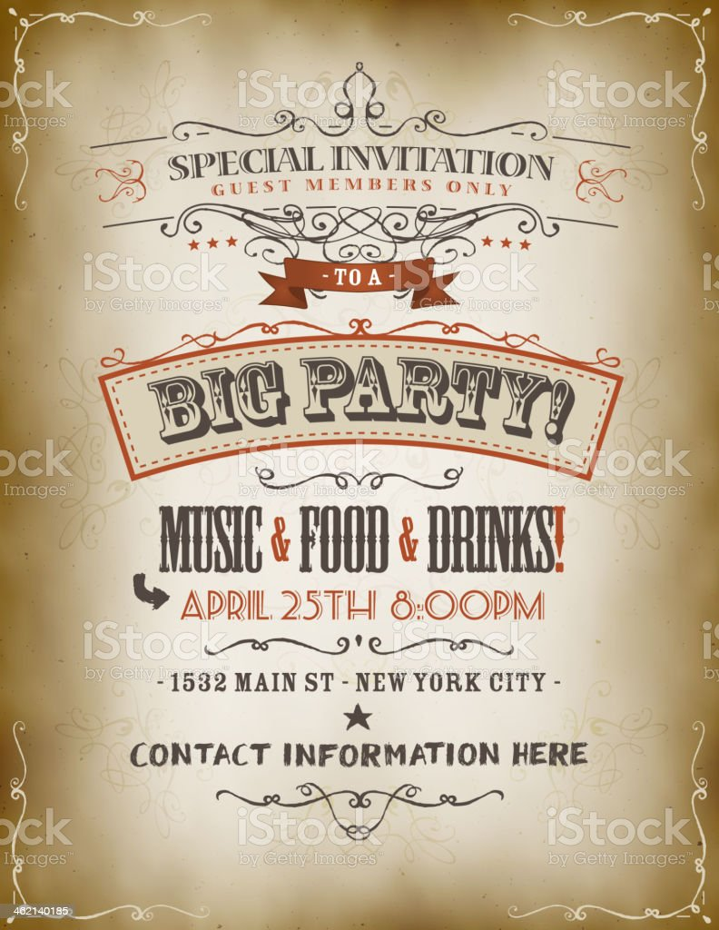 Vintage Big Party Invitation Poster vector art illustration