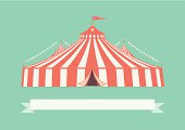 A retro style illustration of a big top circus tent. This is an editable vector illustration with CMYK color space.