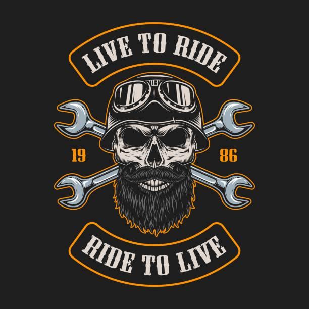 bildbanksillustrationer, clip art samt tecknat material och ikoner med vintage mc emblem - motorcyklist