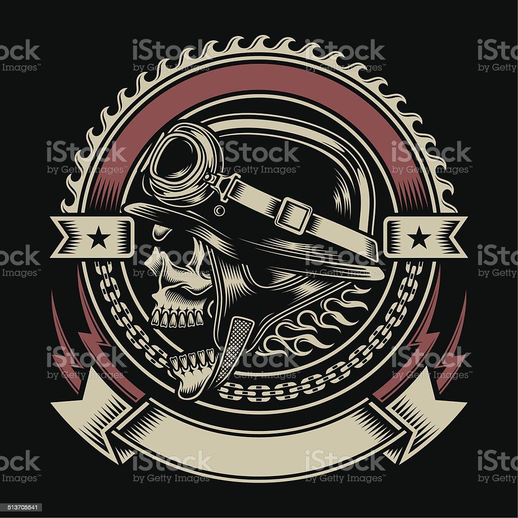 Vintage Biker Skull Emblem vector art illustration
