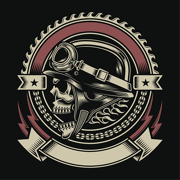 ilustrações de stock, clip art, desenhos animados e ícones de caveira motociclista vintage emblema - helmet motorbike