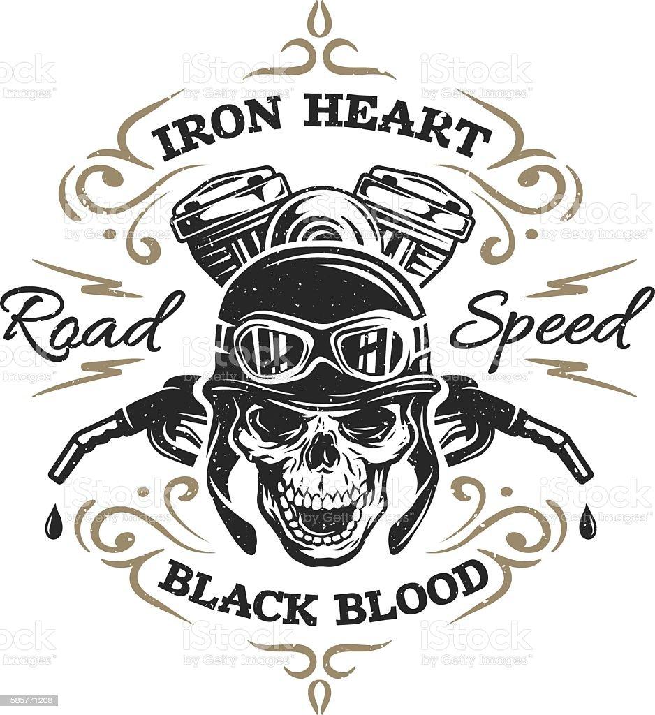 Vintage Biker Skull, t-shirt prints. vector art illustration