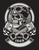fully editable vector illustration of biker skull with crossed piston emblem isolated on black background, image suitable for crest, emblem, insignia, badge, or t-shirt design