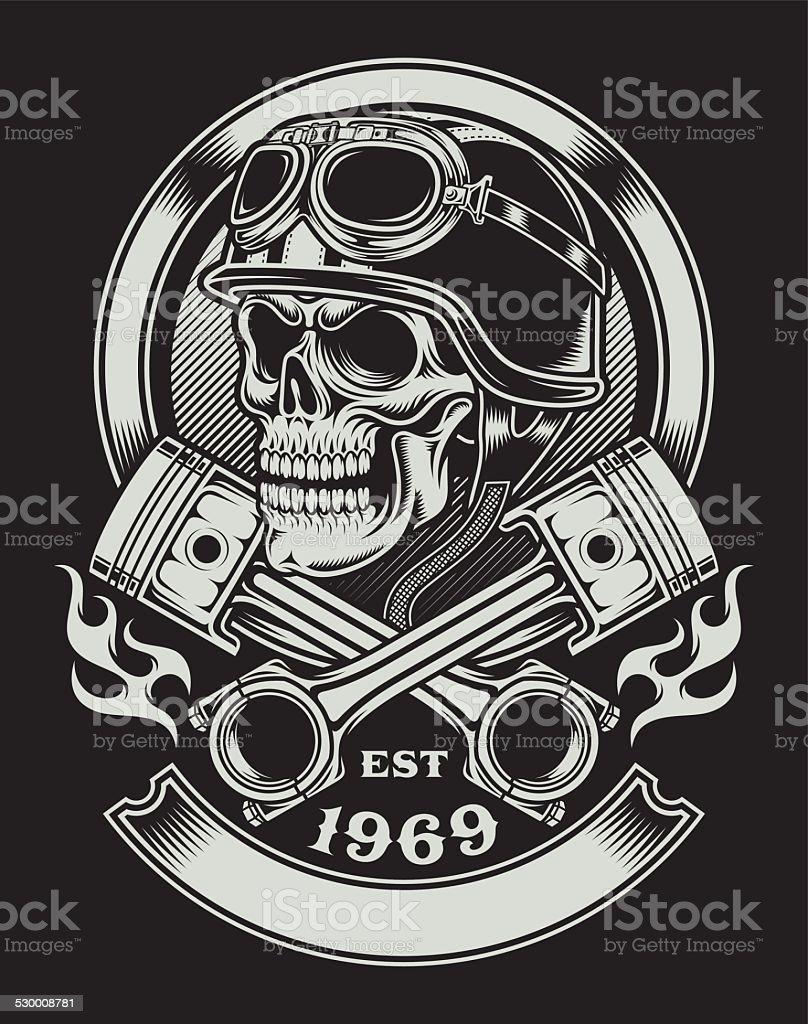 Vintage Biker Skull With Crossed Piston Emblem vector art illustration