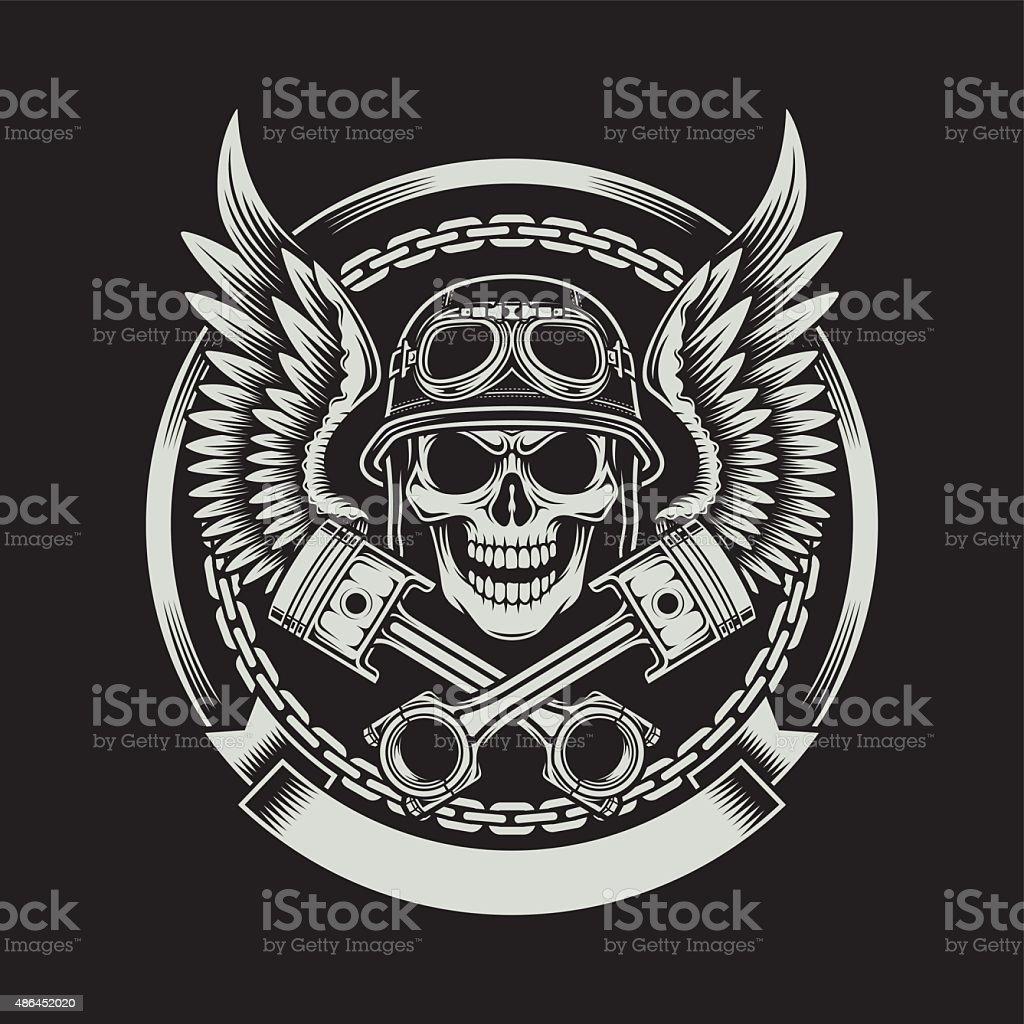 Vintage Biker Skull with Wings and Pistons Emblem vector art illustration