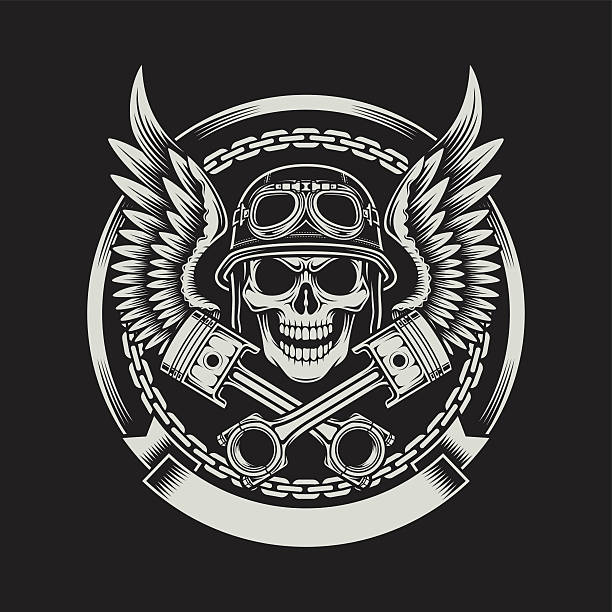 vintage-bikerjacke mit totenkopf mit flügeln und pistons-logo - totenkopf tattoos stock-grafiken, -clipart, -cartoons und -symbole