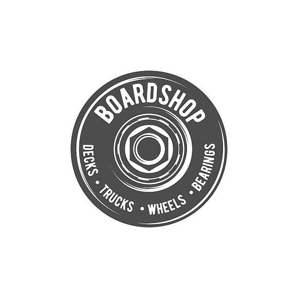 ビンテージバイク、スケートバッジ ロゴタイプ - スケートボード点のイラスト素材/クリップアート素材/マンガ素材/アイコン素材