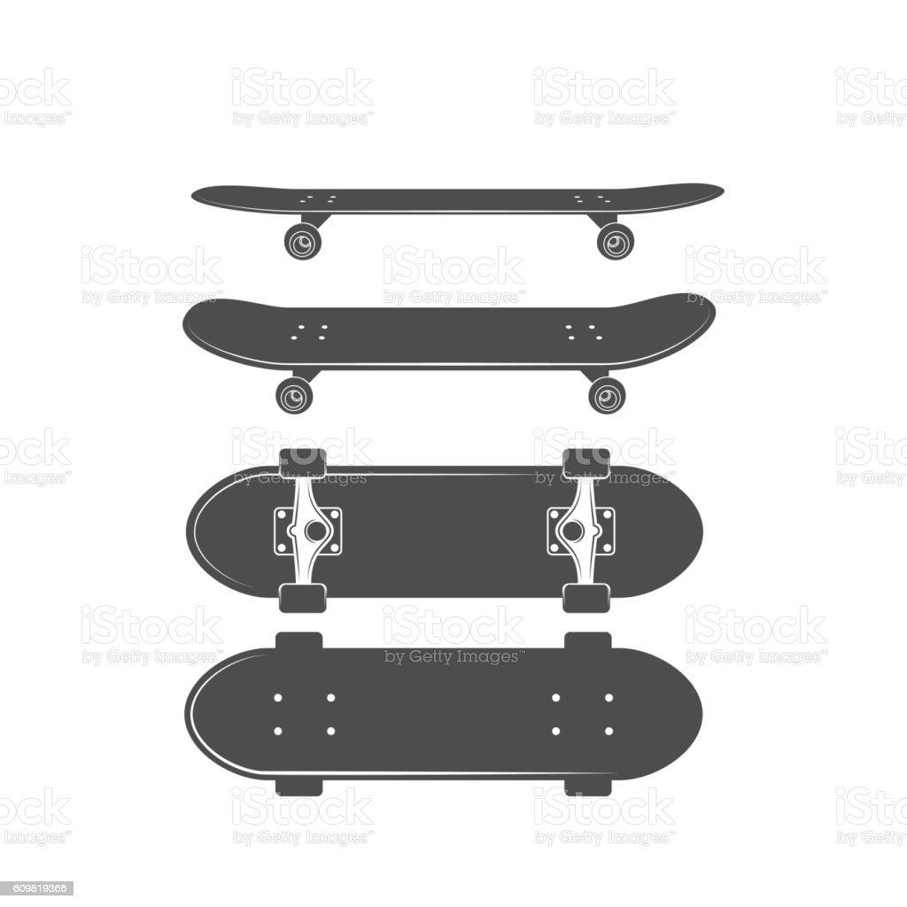 ビンテージバイク、スケートバッジ ロゴタイプ ベクターアートイラスト