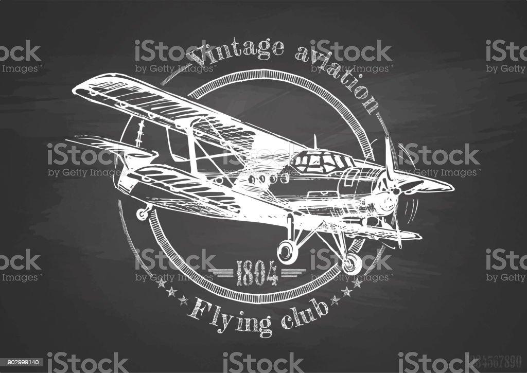 Vintage biplano en pizarra - ilustración de arte vectorial