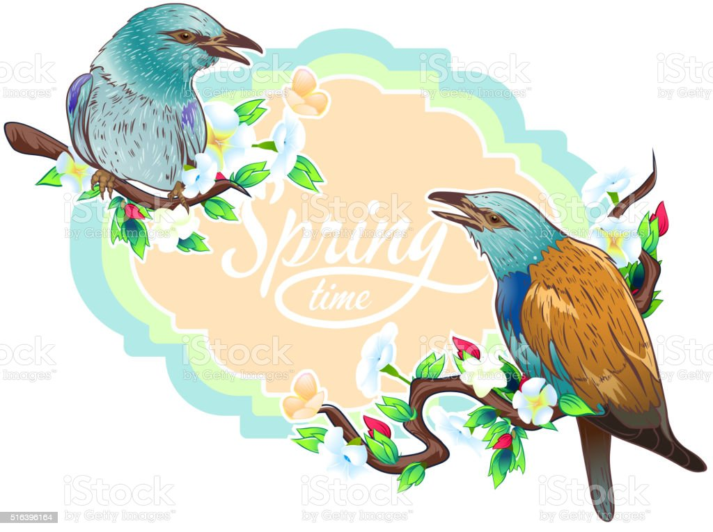 Vintage birds vector art illustration