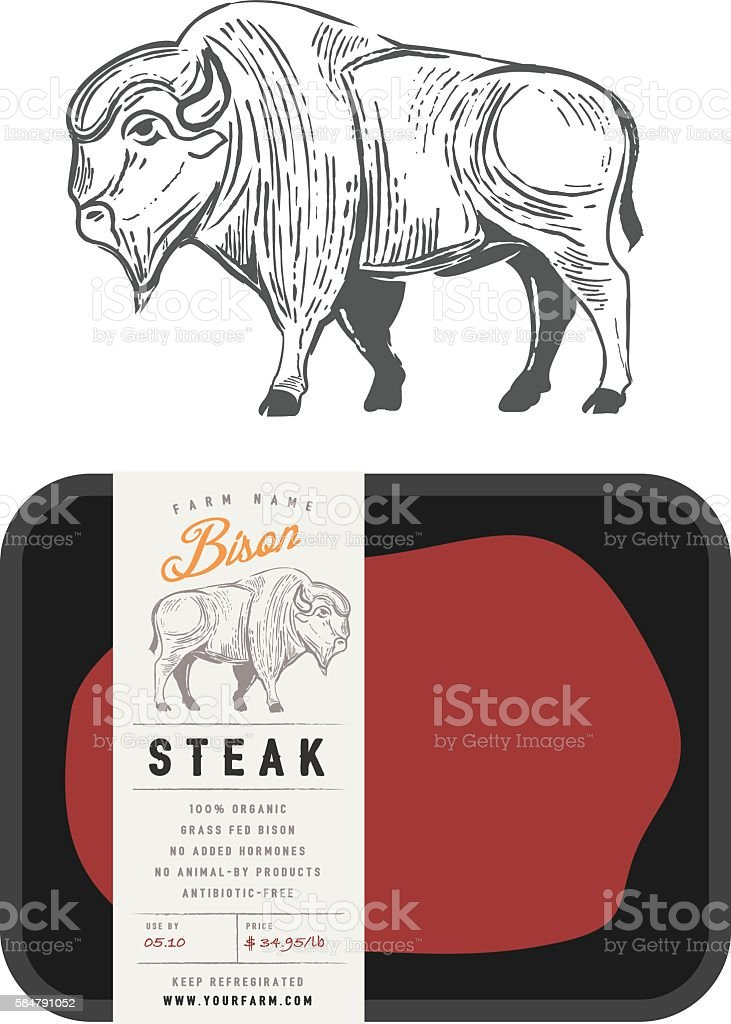 Vintage bison buffalo engraving style with sample package design vector art illustration