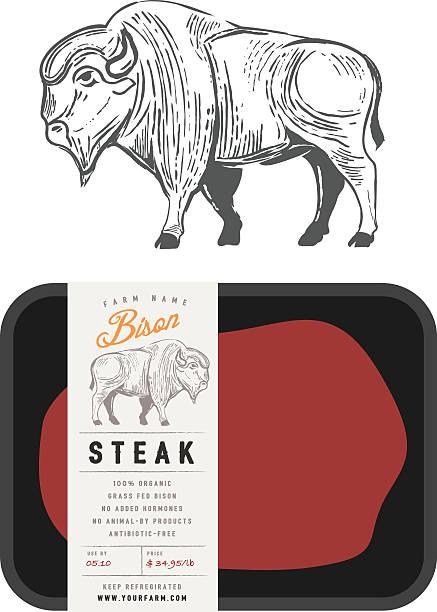 Vintage bison buffalo engraving style with sample package design vector art illustration