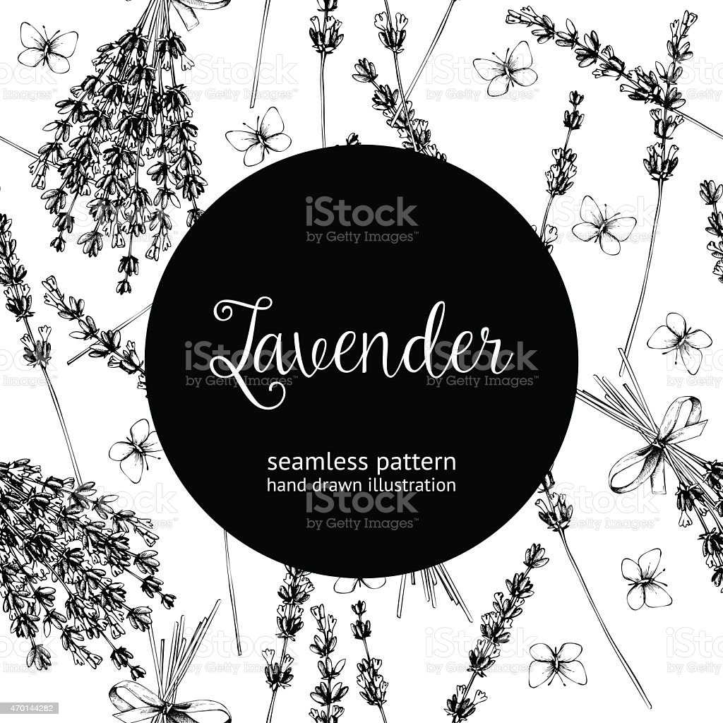Vintage black and white background of lavender flowers vector art illustration