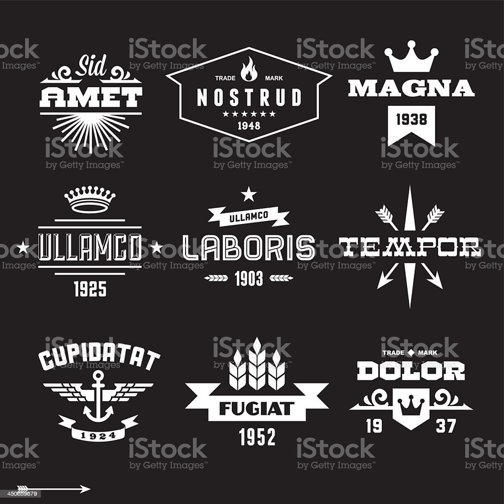 Vintage black and white label graphics set vector art illustration