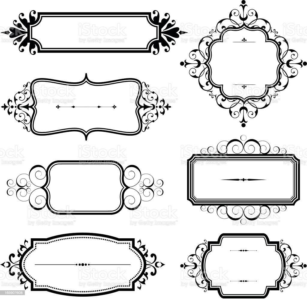 Vintage black and white ornate frames vector art illustration