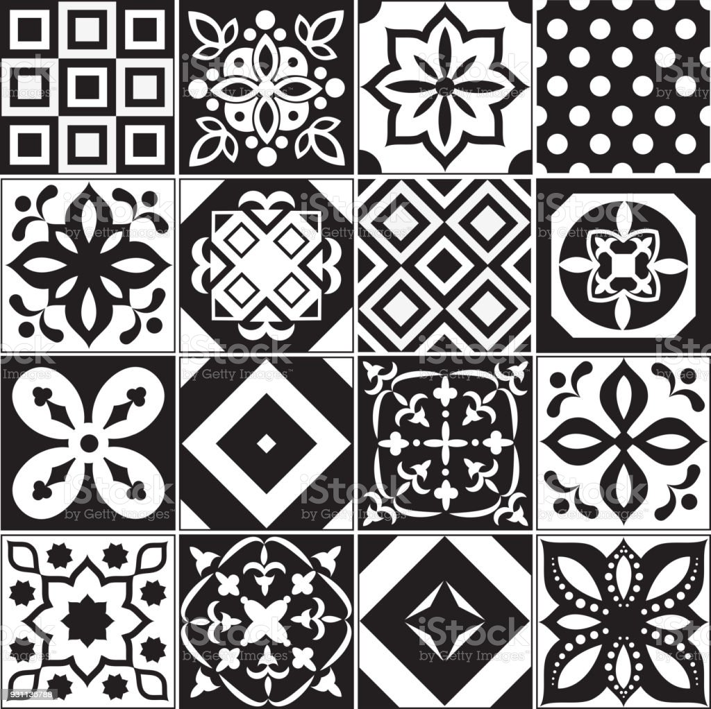 Vintage Black And White Traditional Ceramic Floor Tile Patterns ...
