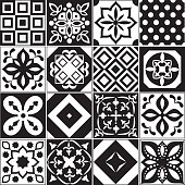 Vintage black and white traditional ceramic floor tile patterns vector collection. Ceramic pattern traditional floor background square illustration