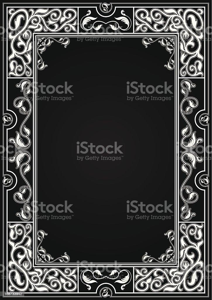 Vintage Schwarzer Hintergrund Mit Weißen Verzierten Rahmen Stock ...