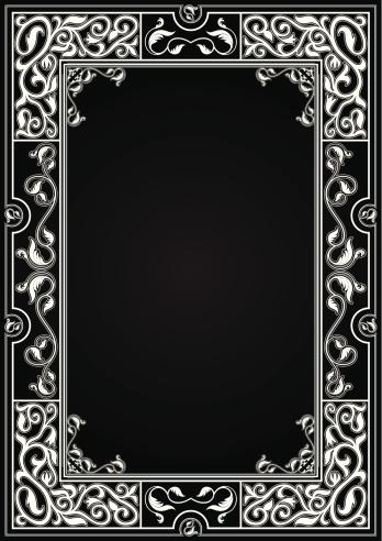 Vintage black background with white ornamental frame