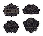 Vintage black emblems set. Flourishes jewelry crest. Calligraphic monogram letters. Floral royal whiskey design. Vector luxury frames, restaurant, boutique, heraldic, cafe, hotel