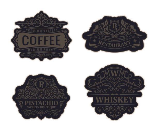 vintage black emblem set. flourishes crest calligraphic ornament - alcohol drink borders stock illustrations