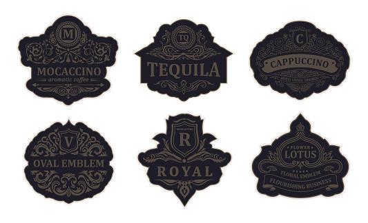 Vintage black emblem set. Flourishes crest calligraphic ornament