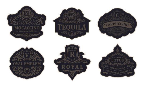 vintage schwarze emblem set. schnörkel crest kalligraphische verzierung - monogrammarten stock-grafiken, -clipart, -cartoons und -symbole