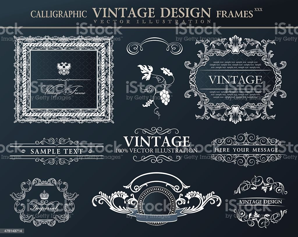 Vintage black frames ornament set. Vector element decor vector art illustration