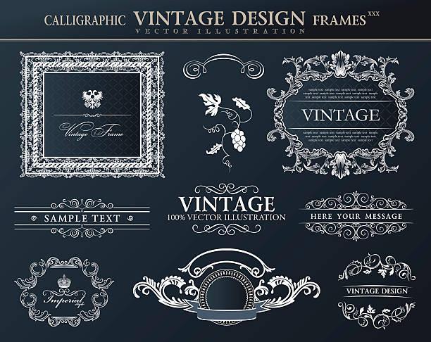 Vintage czarne ramki Ozdoba zestaw.   Wektor wystrój elementu – artystyczna grafika wektorowa