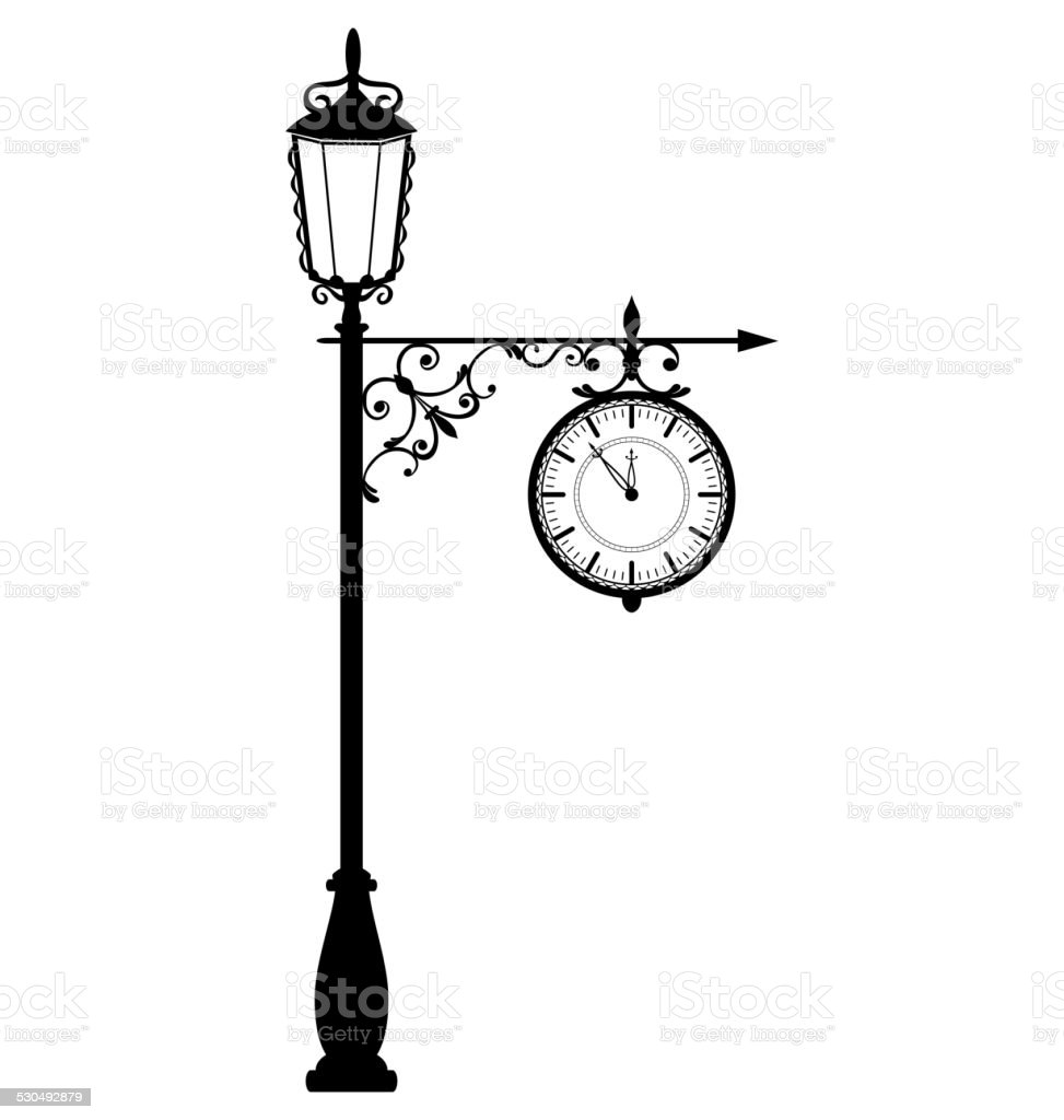 vintage black lamppost with clock isolated on white stock vector art  u0026 more images of 12 o u0026 39 clock