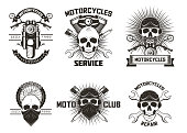 Vintage black moto skull labels, logos, emblems, badges vector illustration isolated on white background. Moto club, motor bike repairs and motorcycle service typography design.
