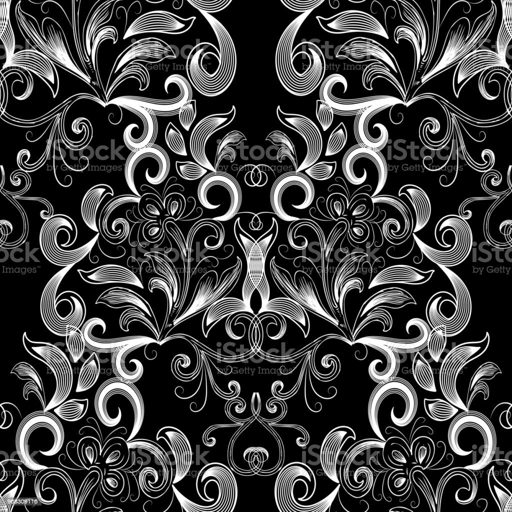 Vintage black white floral seamless pattern. Vector flourish...