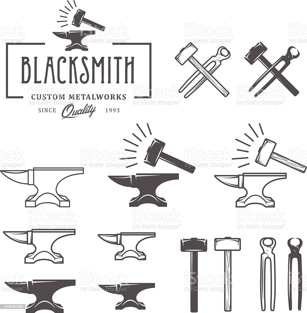 Vintage blacksmith labels and design elements vector art illustration