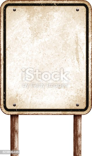 Old and rusty metal sign with copy space. Grunge rectangular road sign with rusty stains and wooden post. This traffic sign has a sepia background and a distressed thin black line. Photorealistic vector illustration isolated on white. Layered EPS10 file with transparencies and global colors. Individual elements and textures. Related images linked below.