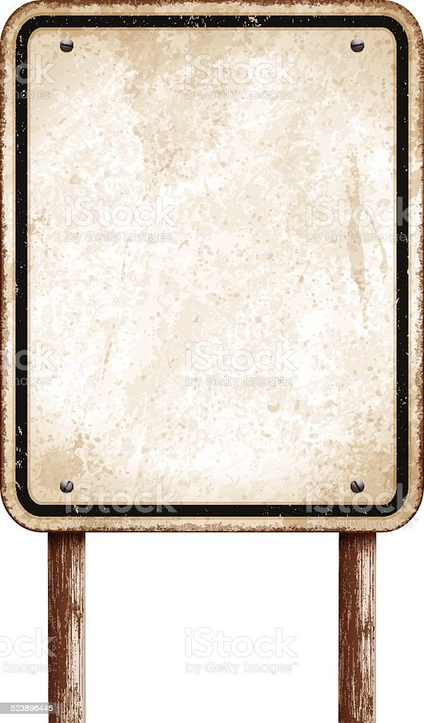 Vintage blank sign with wooden post and black border_vector vector art illustration