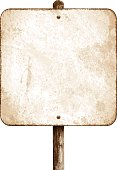 Old and rusty metal sign with copy space. Grunge square road sign with rusty stains and wooden post. This traffic sign has a sepia background and no text. Photorealistic vector illustration isolated on white. Layered EPS10 file with transparencies and global colors. Individual elements and textures. Related images linked below.