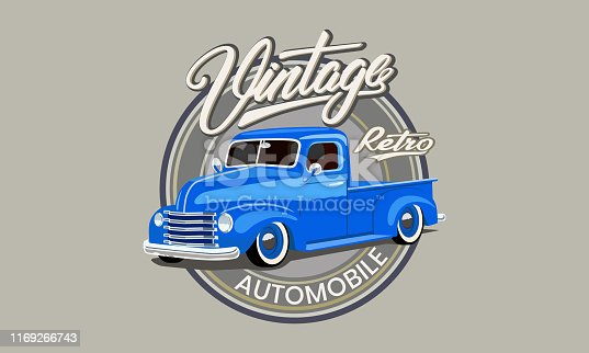 vintage blue car on the label with the labels and letters.