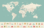 High Detailed World Map and Travel Icons - borders, countries and cities - vector illustration