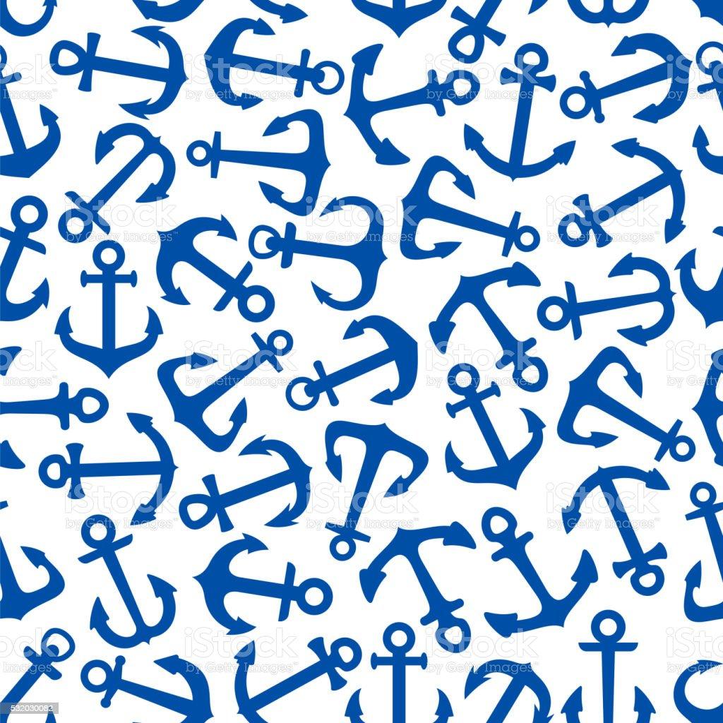 Vintage blue sailboat anchors seamless pattern vector art illustration