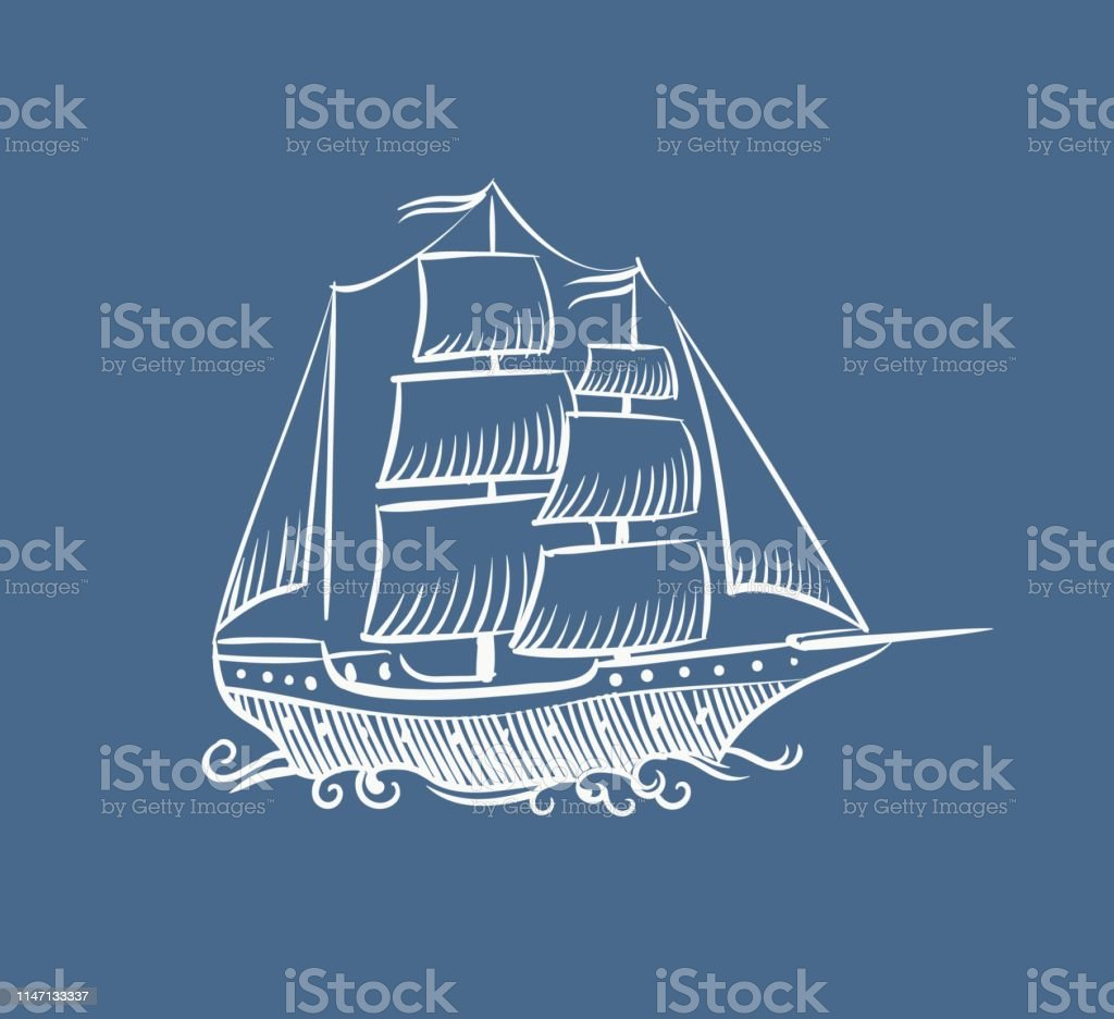 Vintage Boat Sketch Hand Drawn Old Pirate Sea Sailboat Vector Doodle