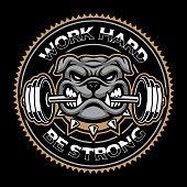 Vintage badge of a dog, bodybuilding mascot on the dark background.