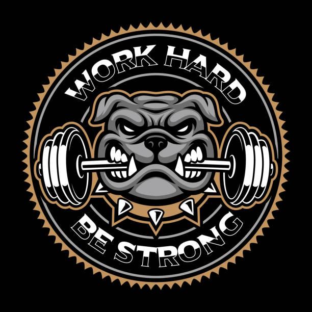 bildbanksillustrationer, clip art samt tecknat material och ikoner med vintage bodybuilding mâcot på den mörka bakgrunden - bulldog