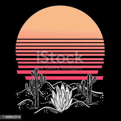 Vintage boho illustration at western style with desert landscape. Retro futurism vibes.