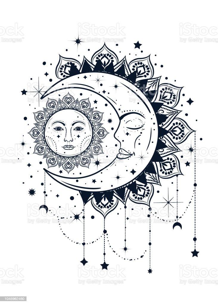 太陽と月のイラストでビンテージ自由奔放に生きる。ドリーム キャッチャーのコンセプト ベクターアートイラスト