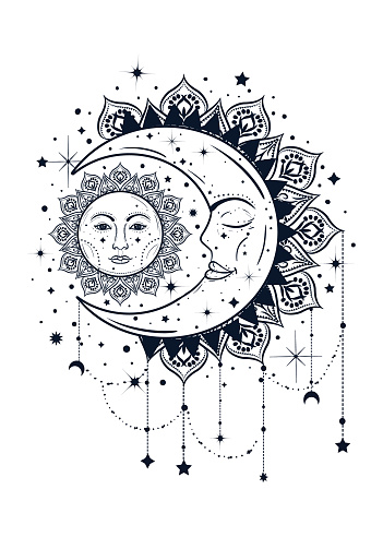 Vintage Boho Illustration Of Sun And Moon Dreamcatcher