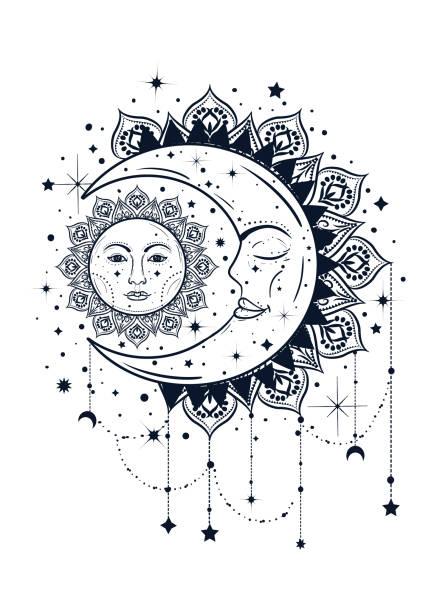 Illustration de Bohème Vintage du soleil et la lune. Concept de Dreamcatcher - Illustration vectorielle